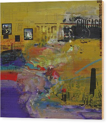 Chicago Collage 2 Wood Print by Corporate Art Task Force