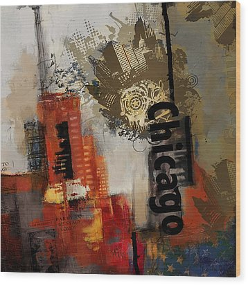 Chicago Collage Wood Print by Corporate Art Task Force