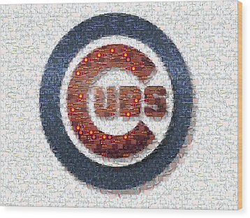 Chicago Cubs Mosaic Wood Print