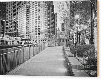 Chicago Downtown City Riverwalk Wood Print by Paul Velgos