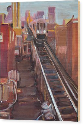Chicago El Wood Print by Julie Todd-Cundiff