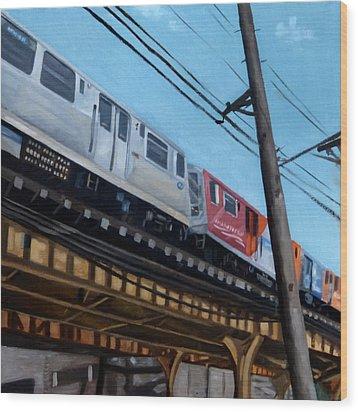 Chicago El Train Blue Line Wood Print