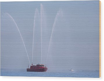 Chicago Fireboat Wood Print by Adam Romanowicz