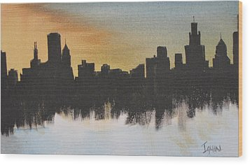 Wood Print featuring the painting Chicago by Gary Smith
