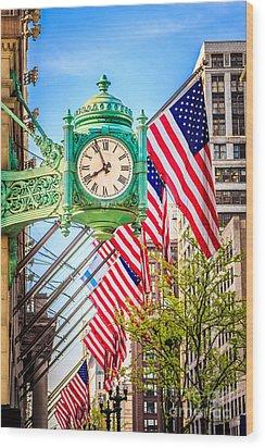 Chicago Great Clock On Macys Building Wood Print by Paul Velgos