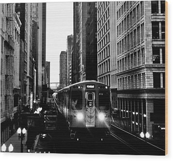 Chicago L Black And White Wood Print