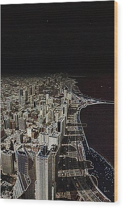 Chicago Lakefront Aglow Wood Print