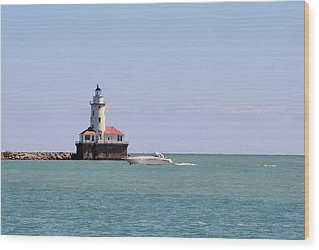 Chicago Light House With Boat In Lake Michigan Wood Print by Christine Till