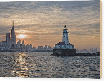 Chicago Lighthouse And Skyline Wood Print by John Hansen