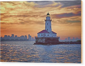 Chicago Lighthouse Impression Wood Print by John Hansen
