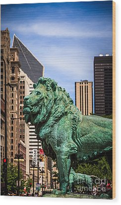 Chicago Lion Statues At The Art Institute Wood Print by Paul Velgos