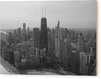 Chicago Looking South 01 Black And White Wood Print by Thomas Woolworth