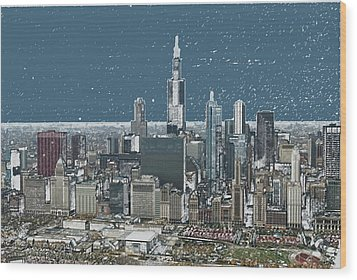 Chicago Looking West In A Snow Storm Digital Art Wood Print by Thomas Woolworth