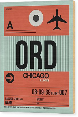 Chicago Luggage Poster 2 Wood Print by Naxart Studio