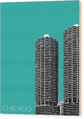 Chicago Skyline Marina Towers - Teal Wood Print by DB Artist