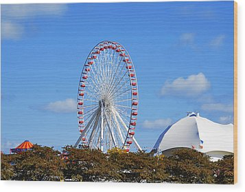 Chicago Navy Pier Ferris Wheel Wood Print by Christine Till