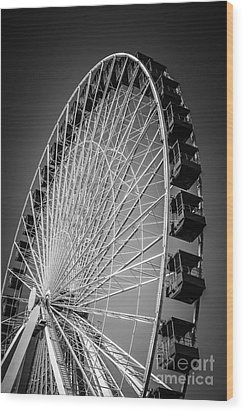 Chicago Navy Pier Ferris Wheel In Black And White Wood Print by Paul Velgos