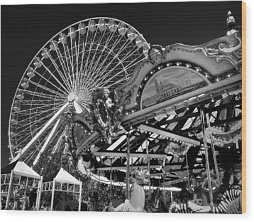 Chicago - Navy Pier - Pier Park 001 Wood Print by Lance Vaughn