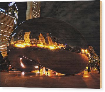 Chicago Night At Cloud Gate 001 Wood Print