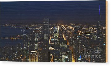 Chicago Night Lights Wood Print