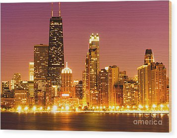 Chicago Night Skyline With John Hancock Building Wood Print by Paul Velgos