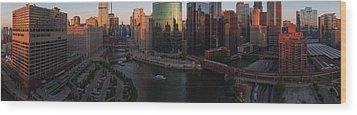 Chicago On The River Wood Print by Steve Gadomski