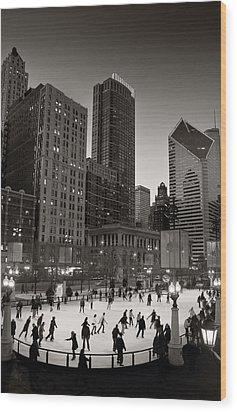 Chicago Park Skate Bw Wood Print by Steve Gadomski