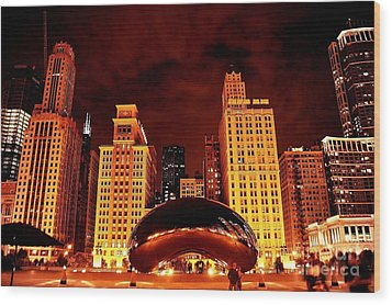 Chicago Photography - The Bean At Night Wood Print by Gene Mark