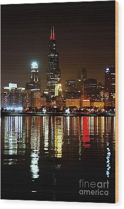 Chicago Photography - Willis Tower At Night Wood Print by Gene Mark