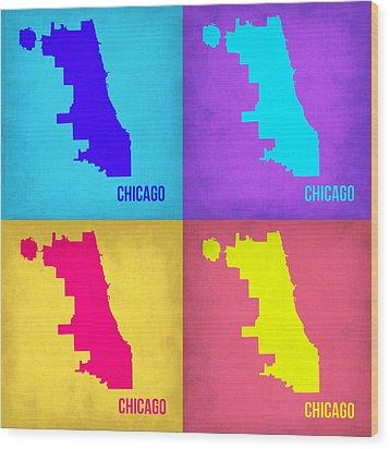 Chicago Pop Art Map 1 Wood Print by Naxart Studio
