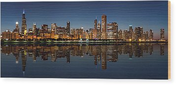 Chicago Reflected Wood Print by Semmick Photo