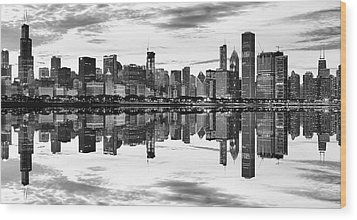 Chicago Reflection Panorama Wood Print by Donald Schwartz