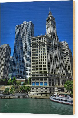 Chicago River 002 Wood Print by Lance Vaughn