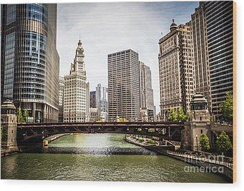 Chicago River Skyline At Wabash Avenue Bridge Wood Print by Paul Velgos