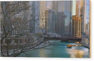 Chicago River Sunset Wood Print by Jeff Kolker