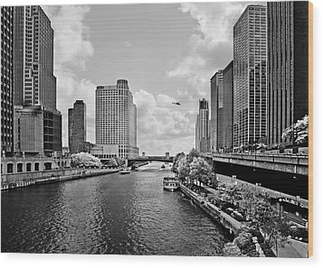 Chicago River - The River That Flows Backwards Wood Print by Christine Till