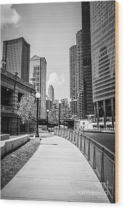 Chicago Riverwalk Black And White Picture Wood Print by Paul Velgos