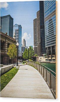 Chicago Riverwalk Picture Wood Print by Paul Velgos