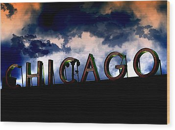 Chicago Sign Sunset Wood Print by Kristie  Bonnewell