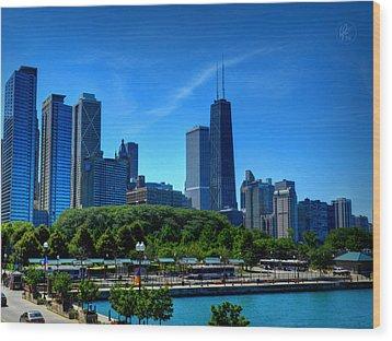 Chicago Skyline 002 Wood Print by Lance Vaughn