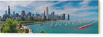 Chicago Skyline Daytime Panoramic Wood Print by Adam Romanowicz