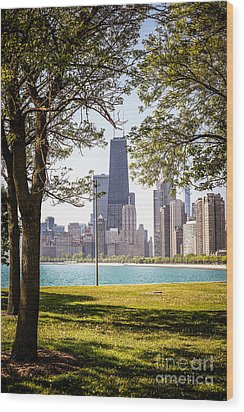 Chicago Skyline And Hancock Building Through Trees Wood Print by Paul Velgos