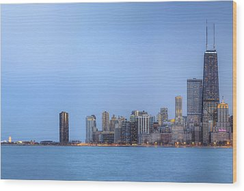Chicago Skyline And Navy Pier Wood Print by Shawn Everhart