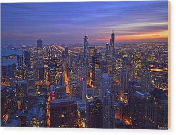 Wood Print featuring the photograph Chicago Skyline At Dusk From John Hancock Signature Lounge by Jeff at JSJ Photography