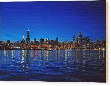 Chicago Skyline At Dusk Wood Print