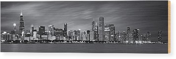 Chicago Skyline At Night Black And White Panoramic Wood Print