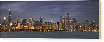 Chicago Skyline At Night Color Panoramic Wood Print