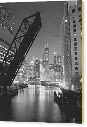 Chicago Skyline - Black And White Sears Tower Wood Print