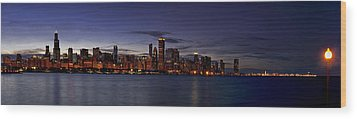 Chicago Skyline From The Lake Wood Print by Andrew Soundarajan