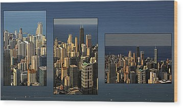 Chicago Skyline From Willis Tower Wood Print by Christine Till